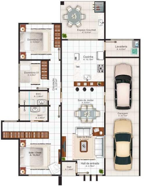 planos de casas con cochera para dos carros
