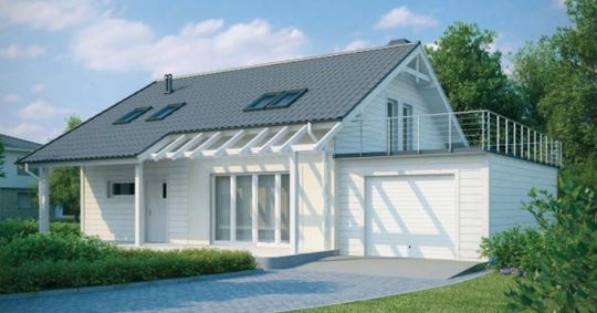 Casa de dos plantas con cochera y terraza