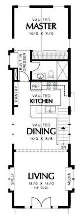 Diseño de casa larga y angosta con garage