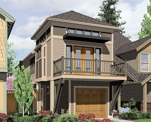 Diseño de casa larga y angosta de 2 pisos