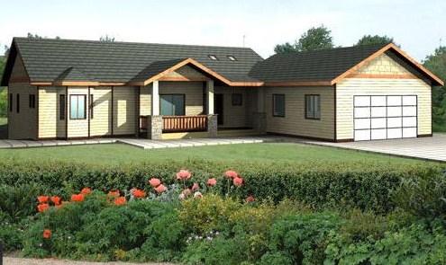 Fachada de casa moderna para terreno en desnivel