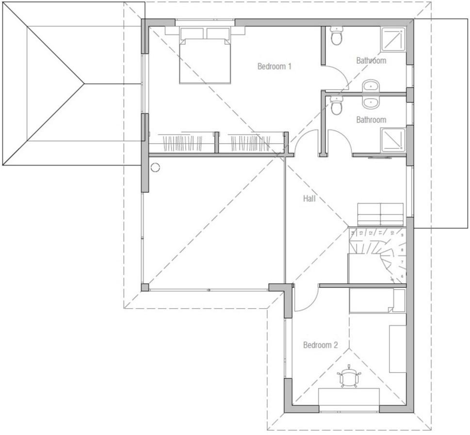 Modelo de casa alta con 2 pisos y 3 dormitorios