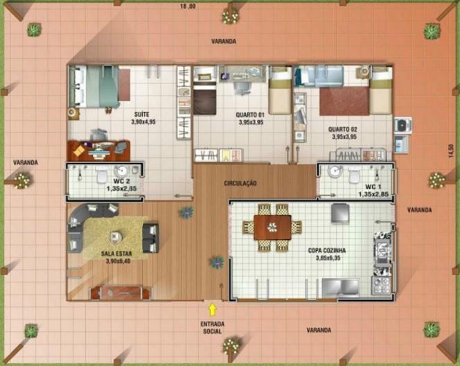 Plano de bungalow rodeado por galerías