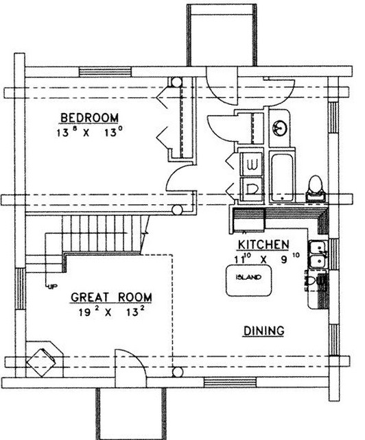 Plano de cabaña de troncos de 2 pisos