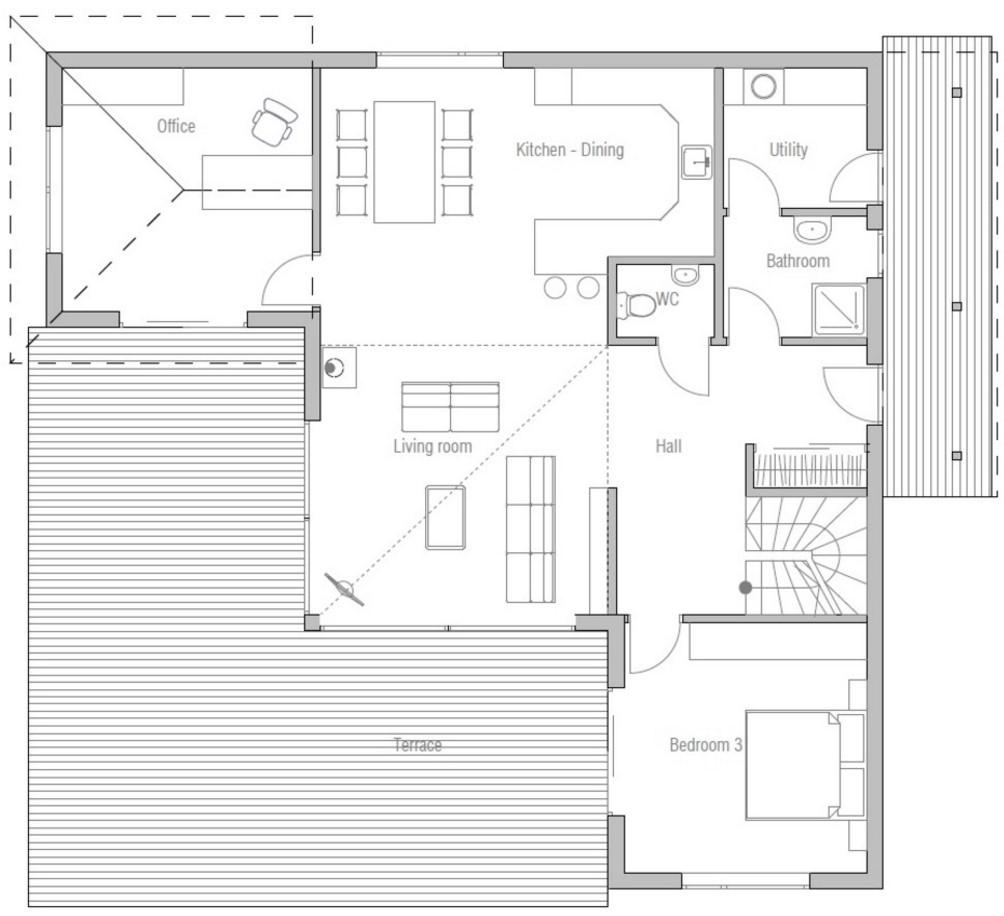 Plano de casa alta con 2 pisos y 3 dormitorios