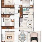 Plano de casa con dos baños