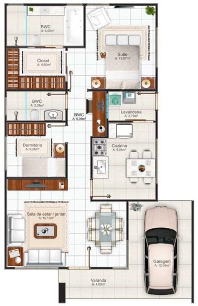 İki banyolu ev planı