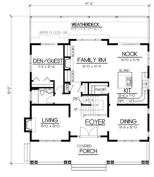 Plano de casa con garage en el subsuelo