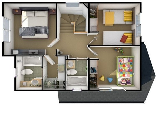 Plano de casa con techo doble altura