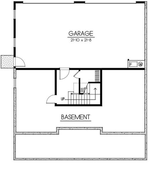 Plano de casa de 2 pisos con garage en el subsuelo