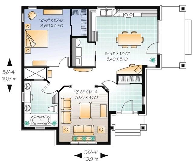 Plano de casa de un dormitorio for Ambientes de una casa moderna