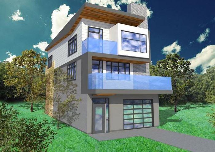 Plano de casa de 3 plantas moderna