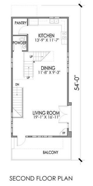 Plano de casa de 3 plantas