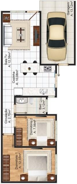 Plano de casa de 6 metros de frente