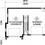 Plano de casa de dos pisos con garaje