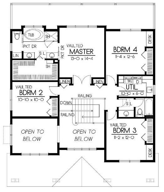 Plano de casa grande con garage en el subsuelo