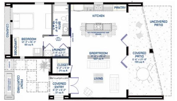 Plano de casa minimista y moderna