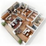 Plano de departamento de 3 habitaciones y 2 baños