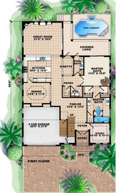 Plano de mansión con sala de juegos