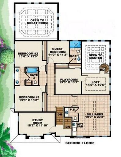 Plano de mansión de 2 pisos con sala de juegos