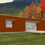 Plano de casa de 2 dormitorios con fachada