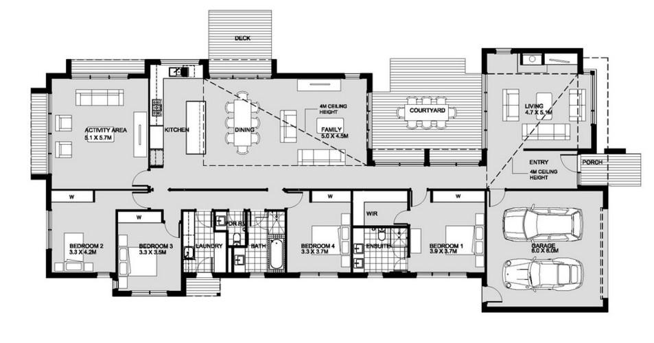 modelo de casa moderna de 4 dormitorios