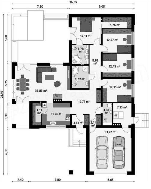 Plano de casa de un piso con medidas for Plano casa un piso