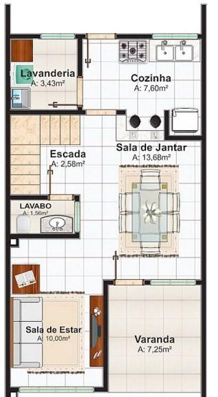 planos de casas pequenas y estrechas