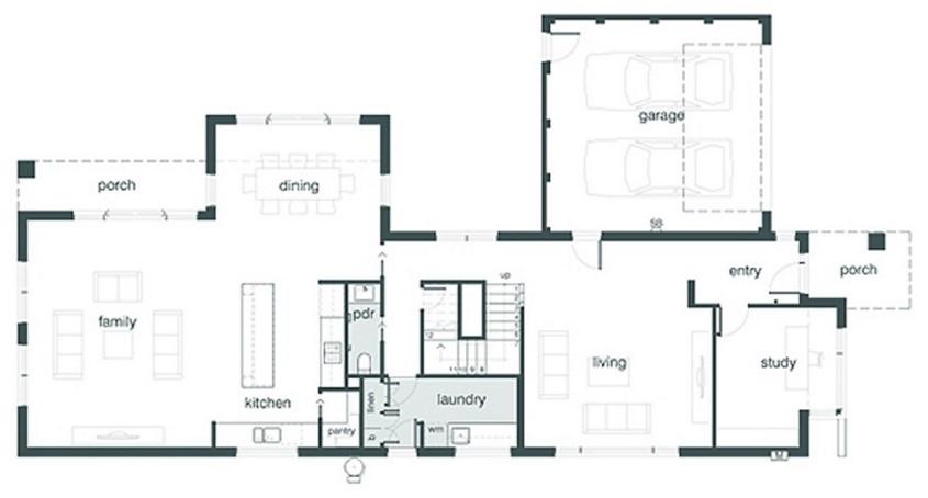Plano de casa de 330 metros cuadrados con 4 dormitorios for Plantas arquitectonicas de casas