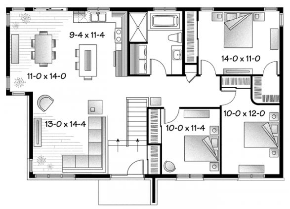 Casa de 3 dormitorios planos