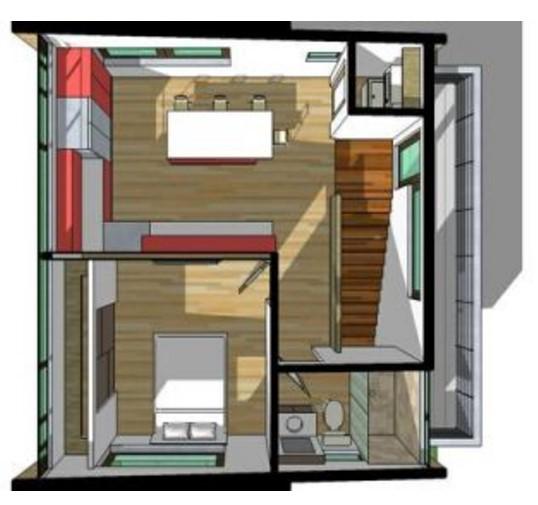 Casa minimalista pequeña de dos pisos planos