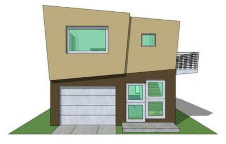Casa minimalista pequeña de dos pisos