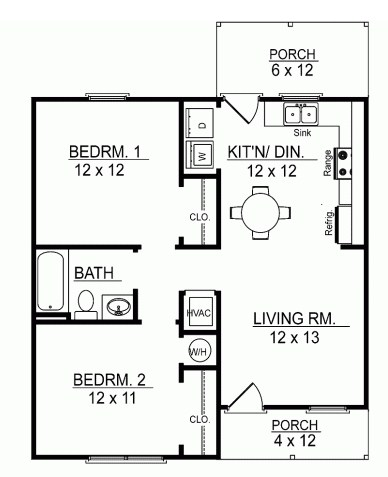 Diseño de casa de 2 dormitorios