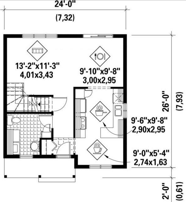 Diseño de casa de 7 x 8 m
