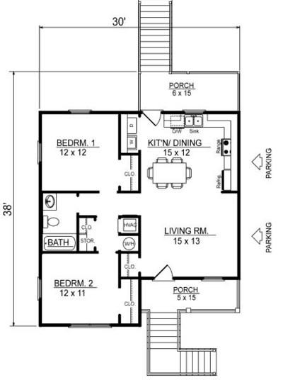 Diseño de casa elevada de 2 dormitorios