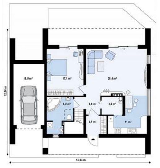 El plano de casa revestida en piedra con contrafachada