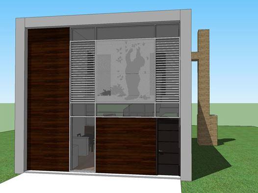 Fachada de casa minimalista de 2 dormitorios