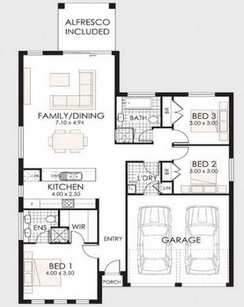Modelo de casa moderna de 3 habitaciones y 2 baños