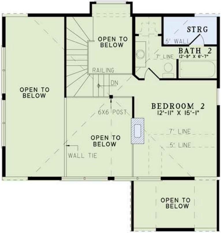 Plano de cabaña moderna de 2 pisos