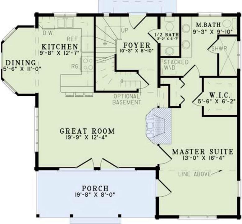 Plano de cabaña moderna de dos pisos