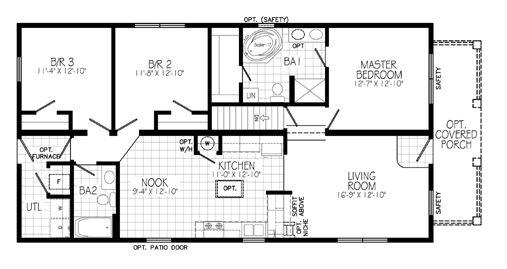 Plano de casa chalet de 3 dormitorios