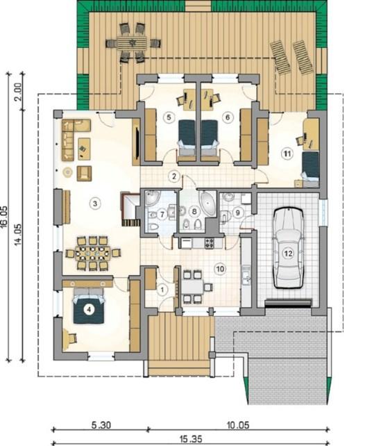 Plano de casa de 15 x 16 m