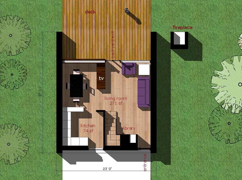 Plano de casa minimalista de 2 dormitorios