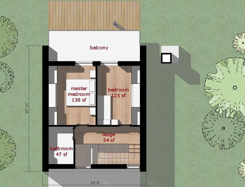 Plano de casa minimalista de 2 pisos