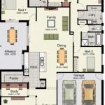 Plano de casa moderna de cuatro dormitorios y cochera doble