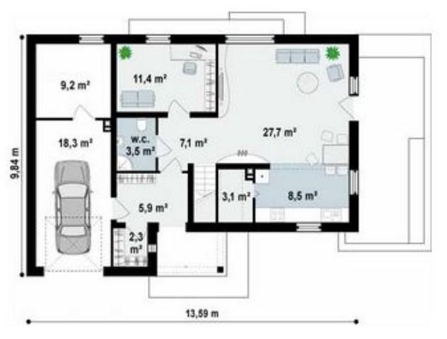 Plano de casa moderna y tradicional