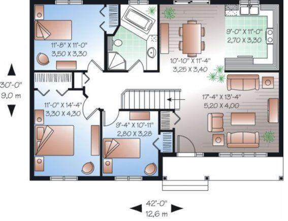 Plano de casa sencilla 1 piso for Plano casa un piso