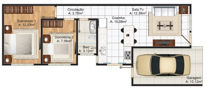 Planos de casas sencillas de un piso y 2 dormitorios