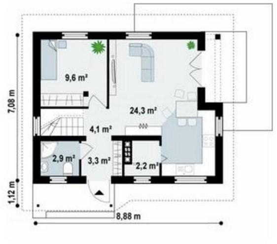 casa rectangular plano