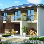 Plano de casa revestida en piedra con contrafachada